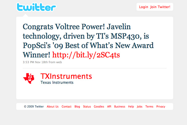 Twitter/Texas Instruments congratulates Voltree Power.